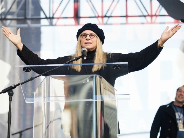 LOS ANGELES, CA - JANUARY 21: Actress Barbra Streisand speaks onstage at the women's march in Los Angeles on January 21, 2017 in Los Angeles, California. (Photo by Emma McIntyre/Getty Images)