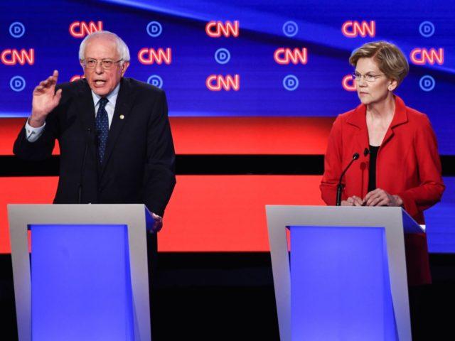 Bernie Sanders and Elizabeth Warren at Democrat debate (Brendan Smialowski / AFP / Getty)