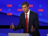 Former Texas Rep. Beto O'Rourke participates in the first of two Democratic presidential primary debates hosted by CNN Tuesday, July 30, 2019, in the Fox Theatre in Detroit. (AP Photo/Paul Sancya)