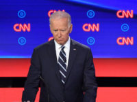Democratic presidential hopeful former Vice President Joe Biden (L) listens as US Senator from California Kamala Harris speaks during the second round of the second Democratic primary debate of the 2020 presidential campaign season hosted by CNN at the Fox Theatre in Detroit, Michigan on July 31, 2019. (Photo by …