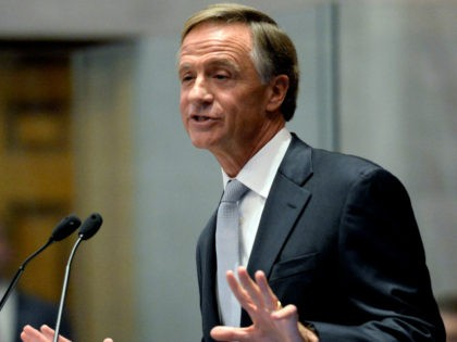 Tennessee Gov. Bill Haslam gives his annual State of the State address to a joint convention of the Tennessee General Assembly Monday, Jan. 29, 2018, in Nashville, Tenn. (AP Photo/Mark Zaleski)