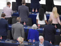 British MEPs Brexit Party turn their backs during the European anthem ahead of the inaugural session at the European Parliament on July 2 , 2019 in Strasbourg, eastern France. (Photo by FREDERICK FLORIN / AFP) (Photo credit should read FREDERICK FLORIN/AFP/Getty Images)