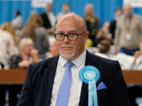 SUNDERLAND, ENGLAND - MAY 26: Brexit Party MEP candidate Brian Monteith stands for media photographs as election workers count ballot papers at Silksworth Community Pool, Tennis and Wellness Centre during the count for the European Election on May 26, 2019 in Sunderland, England. Voters across EU countries have now cast …