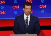 South Bend Mayor Pete Buttigieg participates in the first of two Democratic presidential primary debates hosted by CNN Tuesday, July 30, 2019, at the Fox Theatre in Detroit. (AP Photo/Paul Sancya)