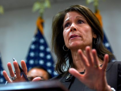 Congresswoman Cheri Bustos (D-IL) (C) speaks during a press conference with other Mayor's and House of Representative members calling on US President Donald Trump and Congress to end the shutdown in Washington, DC on January 24, 2019. (Photo by ANDREW CABALLERO-REYNOLDS / AFP) (Photo credit should read ANDREW CABALLERO-REYNOLDS/AFP/Getty Images)