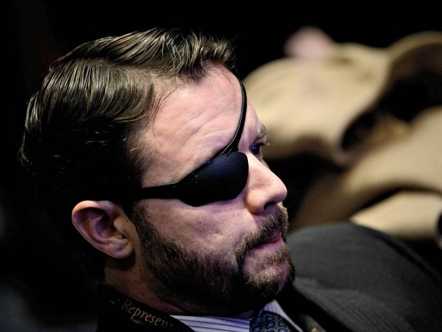 Incoming Representative Dan Crenshaw attends a House of Representatives member-elect welcome briefing on Capitol Hill November 15, 2018 in Washington, DC. (Photo by Brendan Smialowski / AFP) (Photo credit should read BRENDAN SMIALOWSKI/AFP/Getty Images)