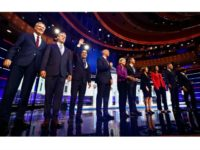 The 10 Democratic presidential candidates debating Wednesday night. (Brynn Anderson/AP)