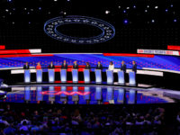 From left, Sen. Michael Bennet, D-Colo., Sen. Kirsten Gillibrand, D-N.Y., former Housing and Urban Development Secretary Julian Castro, Sen. Cory Booker, D-N.J., former Vice President Joe Biden, Sen. Kamala Harris, D-Calif., Andrew Yang, Rep. Tulsi Gabbard, D-Hawaii, Washington Gov. Jay Inslee and New York City Mayor Bill de Blasio participate …