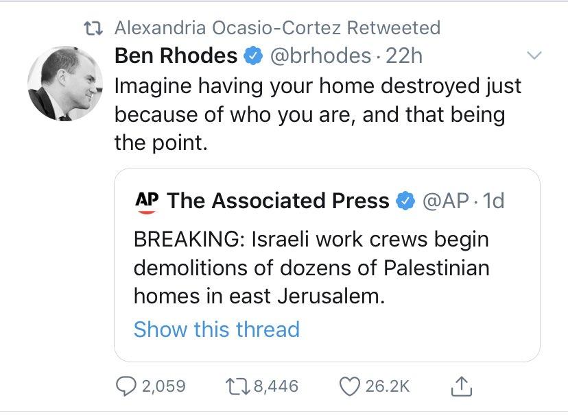 Alexandria Ocasio-Cortez retweet of Ben Rhodes (Twitter)