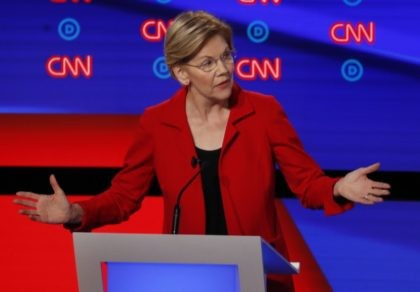 Sen. Elizabeth Warren, D-Mass., participates in the first of two Democratic presidential primary debates hosted by CNN Tuesday, July 30, 2019, in the Fox Theatre in Detroit. (AP Photo/Paul Sancya)