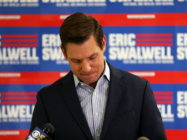 DUBLIN, CALIFORNIA - JULY 08: Democratic presidential candidate Rep. Eric Swalwell (D-CA) speaks during a press conference at his campaign headquarters where he announced that he is dropping out of the presidential race on July 08, 2019 in Dublin, California. Three months after entering the presidential race, Swalwell announced that …