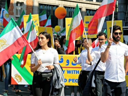 Illustration picture shows a protest march organised for a free Iran, Saturday 15 June 2019 in Brussels. This is the start of a several marchs around the world to protest against Iranian regime. BELGA PHOTO NICOLAS MAETERLINCK (Photo credit should read NICOLAS MAETERLINCK/AFP/Getty Images)