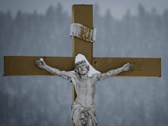 Crucifix at French church that was vandalized