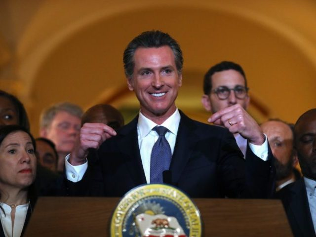 SACRAMENTO, CALIFORNIA - MARCH 13: California Gov. Gavin Newsom speaks during a news conference at the California State Capitol on March 13, 2019 in Sacramento, California. Newsom announced today a moratorium on California's death penalty. California has 737 people on death row, the largest death row population in the United …