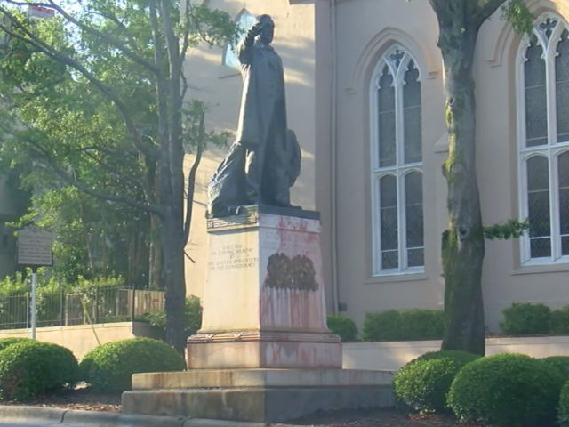 Confederate monument of George Davis was one of two statues vandalized in the early morning hours of July 4, 2019, in North Carolina.
