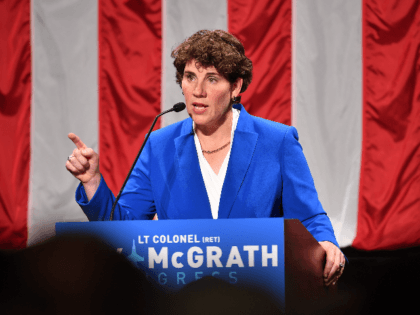 Amy McGrath address supporters after her loss during her Election Night Event at the EKU Center for the Arts on November 6, 2018 in Richmond, Kentucky. (Photo by Jason Davis/Getty Images)