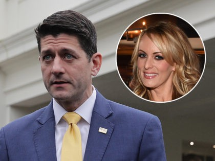 (INSET: Stormy Daniels) WASHINGTON, DC - DECEMBER 20: Speaker of the House Paul Ryan (R-WI) and House Majority Leader Kevin McCarthy (R-CA) talk to journalists after meeting with U.S. President Donald Trump at the White House December 20, 2018 in Washington, DC. Ryan said that Trump would not sign the …