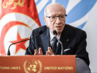 Tunisian President Beji Caid Essebsi gestures as he speaks during a press conference after his speech at the opening day of the 40th session of the United Nations (UN) Human Rights Council on February 25, 2019 in Geneva. (Photo by Fabrice COFFRINI / AFP) (Photo credit should read FABRICE COFFRINI/AFP/Getty …