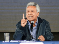 Ecuadorean President Lenin Moreno speaks on Wikileaks founder Julian Assange in Latacunga, Ecuador on April 11, 2019. - President Lenin Moreno's government withdrew the Ecuadoran citizenship granted WikiLeaks founder Julian Assange before his arrest in London Thursday, Foreign Minister Jose Valencia said. The citizenship, which was granted in 2017, was …