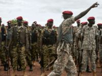 Personnel of the South Sudan People's Defence Forces (SSPDF), formerly named Sudan People's Liberation Army (SPLA), assigned as South Sundan's presidential guard, take part in a drill at their barracks in Rejaf, about 15km south of Juba, South Sudan, on April 26, 2019. - Though the guard is supposed to …