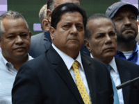 The vice-president of the Venezuelan National Assembly, Edgar Zambrano, is seen in Caracas on March 27, 2019. - Edgar Zambrano, a senior leader of the opposition-dominated National Assembly, was detained by Venezuelan intelligence agents on May 8, 2019, in the first arrest of a lawmaker since the failed uprising against …