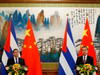 Chinese Foreign Minister Wang Yi (R) and Cuban Foreign Minister Bruno Rodriguez attend a news conference at Diaoyutai state guesthouse in Beijing on May 29, 2019. (Photo by FLORENCE LO / POOL / AFP) (Photo credit should read FLORENCE LO/AFP/Getty Images)