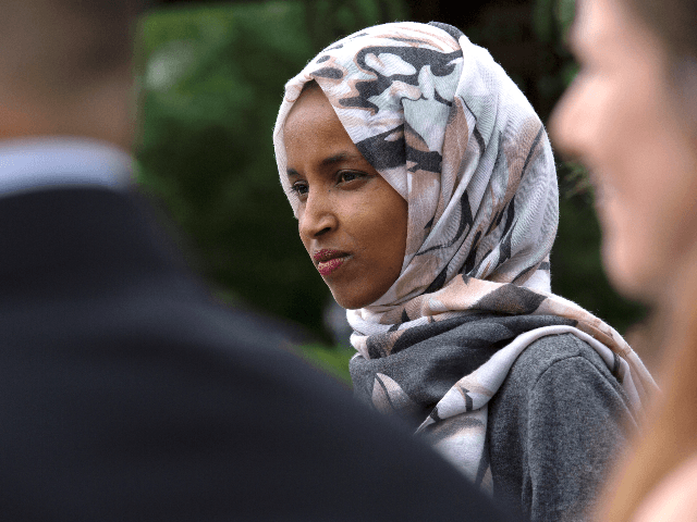 U.S. Rep. Ilhan Omar (D-MN) speaks at a press conference on the No Shame at School Act on June 19, 2019 in Washington, DC. The bill, which is sponsored by Omar, will ensure that no child is shamed or goes without eating a school lunch due to a lack of …