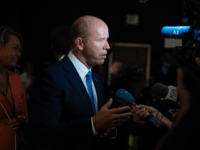 Democratic presidential hopeful former US Representative for Maryland's 6th congressional district John Delaney speaks to the press in the Spin Room after participating in the first Democratic primary debate of the 2020 presidential campaign season hosted by NBC News at the Adrienne Arsht Center for the Performing Arts in Miami, …