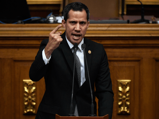 "Venezuelan opposition leader and self-proclaimed interim president Juan Guaido speaks during a session of the National Assembly in Caracas on July 2, 2019. - Guaido said there were no plans to re-open talks with the ""murderous dictatorship"" of President Nicolas Maduro, following the death of an officer in custody over …"