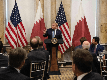 US President Donald Trump prepares to deliver remarks before dinner with Sheikh Tamim bin Hamad al-Thani, Emir of Quatar, at the Treasury Department in Washington, DC, on July 8, 2019. (Photo by NICHOLAS KAMM / AFP) (Photo credit should read NICHOLAS KAMM/AFP/Getty Images)