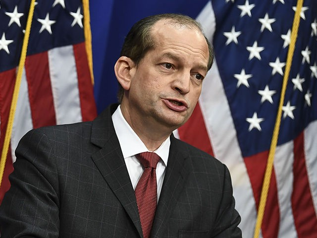 Labor Secretary Alexander Acosta holds a press conference at the US Department of Labor on July 10, 2019 in Washington,DC. - Democratic Party leaders called on July 9, 2019 for the resignation of President Donald Trump's secretary of labor over a secret plea deal he made a decade ago with …