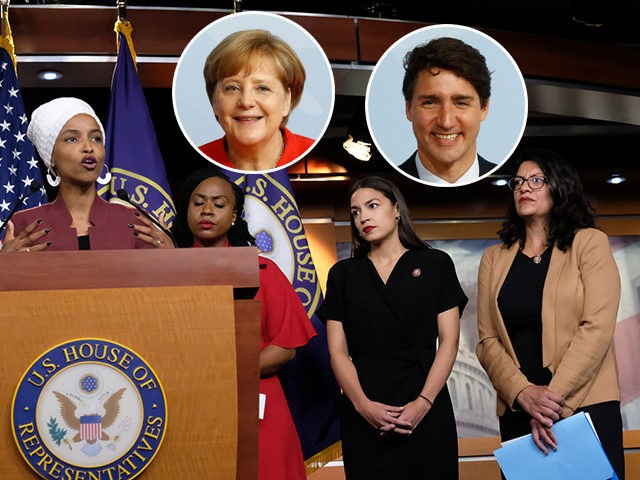 (INSET: Angela Merkel, Justin Trudeau) WASHINGTON, DC - JULY 15: U.S. Rep. Ilhan Omar (D-MN) speaks as Reps. Ayanna Pressley (D-MA), Alexandria Ocasio-Cortez (D-NY), and Rashida Tlaib (D-MI) listen during a press conference at the U.S. Capitol on July 15, 2019 in Washington, DC. President Donald Trump stepped up his …