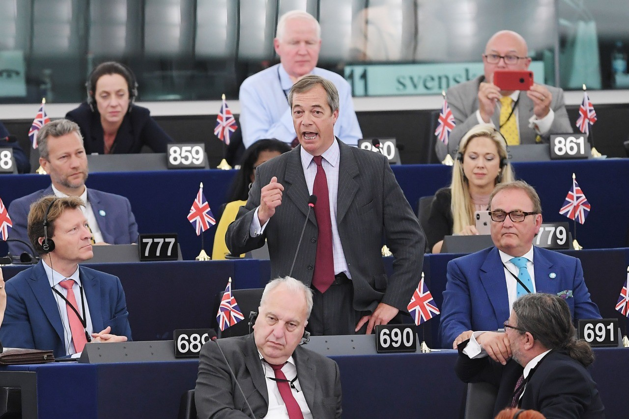 Brexit Party leader Nigel Farage speaks during a debate on the election of outgoing German Defence Minister Ursula von der Leyen's nomination as EU Commission President on July 16, 2019 at the European Parliament in Strasbourg, eastern France. (Photo by FREDERICK FLORIN / AFP) (Photo credit should read FREDERICK FLORIN/AFP/Getty Images)