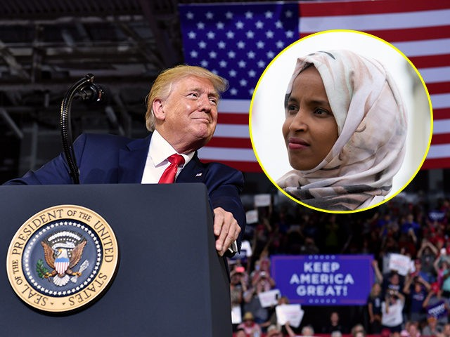 "(INSET: Rep. Ilhan Omar, D-MN) US President Donald Trump gestures as he speaks at a ""Make America Great Again"" rally at Minges Coliseum in Greenville, North Carolina, on July 17, 2019. (Photo by Nicholas Kamm / AFP) (Photo credit should read NICHOLAS KAMM/AFP/Getty Images)"