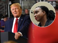 "(INSET: Rep. Ayanna Pressley, D-MA) US President Donald Trump speaks at a ""Make America Great Again"" rally at Minges Coliseum in Greenville, North Carolina, on July 17, 2019. (Photo by Nicholas Kamm / AFP) (Photo credit should read NICHOLAS KAMM/AFP/Getty Images)"