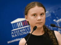 Swedish climate activist Greta Thunberg delivers a speech during a visit of the French National Assembly, in Paris, on July 23, 2019. (Photo by Lionel BONAVENTURE / AFP) (Photo credit should read LIONEL BONAVENTURE/AFP/Getty Images)