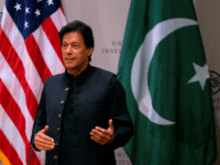 Pakistani Prime Minister Imran Khan speaks at the United States Institute of Peace (USIP) in Washington, DC, on July 23, 2019. (Photo by Alastair Pike / AFP) (Photo credit should read ALASTAIR PIKE/AFP/Getty Images)