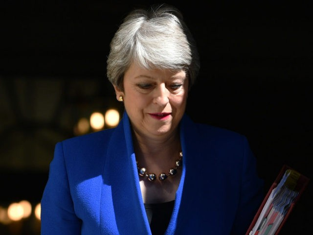 LONDON, ENGLAND - JULY 24: Prime Minister Theresa May leaves 10 Downing Street for her final PMQ's on July 24, 2019 in London, England. Theresa May has been leader of the Conservative Party since 13th July 2016. Today she makes her final statement to the country as British Prime Minister. …