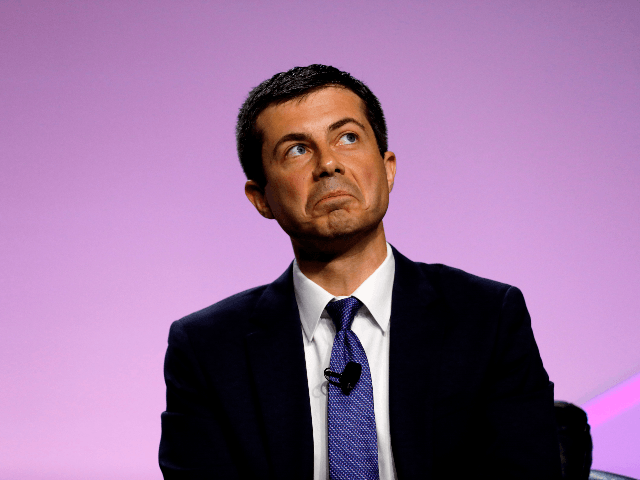 Democratic presidential hopeful Pete Buttigieg addresses the Presidential Forum at the NAACP's 110th National Convention at Cobo Center on July 24, 2019, in Detroit, Michigan. (Photo by JEFF KOWALSKY / AFP) (Photo credit should read JEFF KOWALSKY/AFP/Getty Images)