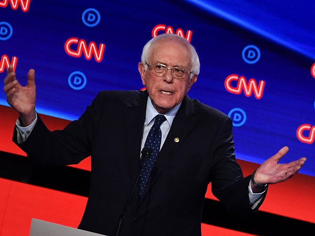 Democratic presidential hopeful US senator from Vermont Bernie Sanders speaks during the first round of the second Democratic primary debate of the 2020 presidential campaign season hosted by CNN at the Fox Theatre in Detroit, Michigan on July 30, 2019. (Photo by Brendan Smialowski / AFP) (Photo credit should read …