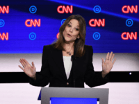 Democratic presidential hopeful US author and writer Marianne Williamson speaks during the first round of the second Democratic primary debate of the 2020 presidential campaign season hosted by CNN at the Fox Theatre in Detroit, Michigan on July 30, 2019. (Photo by Brendan Smialowski / AFP) (Photo credit should read …