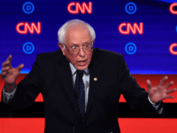 Democratic presidential hopeful US senator from Vermont Bernie Sanders gestures as he speaks during the first round of the second Democratic primary debate of the 2020 presidential campaign season hosted by CNN at the Fox Theatre in Detroit, Michigan on July 30, 2019. (Photo by Brendan Smialowski / AFP) (Photo …