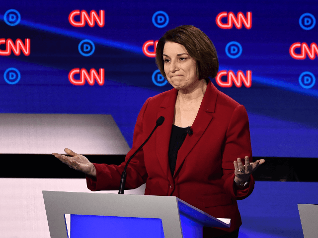 Democratic presidential hopeful US Senator from Minnesota Amy Klobuchar delivers her closing statement during the first round of the second Democratic primary debate of the 2020 presidential campaign season hosted by CNN at the Fox Theatre in Detroit, Michigan on July 30, 2019. (Photo by Brendan Smialowski / AFP) (Photo …