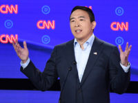 Democratic presidential hopeful US entrepreneur Andrew Yang delivers his opening statement during the second round of the second Democratic primary debate of the 2020 presidential campaign season hosted by CNN at the Fox Theatre in Detroit, Michigan on July 31, 2019. (Photo by Jim WATSON / AFP) (Photo credit should …