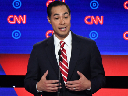 Democratic presidential hopeful Former US Secretary of Housing and Urban Development Julian Castro speaks during the second round of the second Democratic primary debate of the 2020 presidential campaign season hosted by CNN at the Fox Theatre in Detroit, Michigan on July 31, 2019. (Photo by Jim WATSON / AFP) …