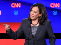 Democratic presidential hopeful US Senator from California Kamala Harris gestures as she speaks during the second round of the second Democratic primary debate of the 2020 presidential campaign season hosted by CNN at the Fox Theatre in Detroit, Michigan on July 31, 2019. (Photo by Jim WATSON / AFP) (Photo …