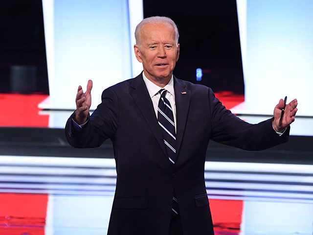 Democratic presidential hopeful Former Vice President Joe Biden gestures after the second round of the second Democratic primary debate of the 2020 presidential campaign season hosted by CNN at the Fox Theatre in Detroit, Michigan on July 31, 2019. (Photo by Jim WATSON / AFP) (Photo credit should read JIM …