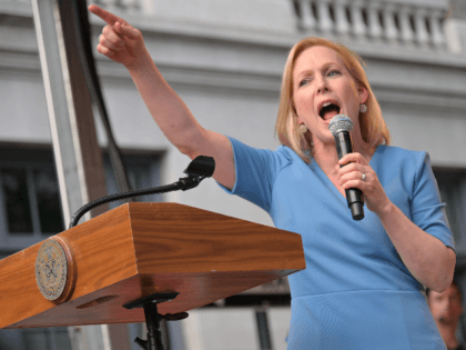 United States Senator Kirsten Gillibrand addresses attendees during the Stonewall 50th Commemoration rally during WorldPride NYC 2019 on June 28, 2019 in New York City. (Photo by Michael Loccisano/Getty Images)