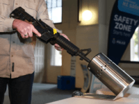 WELLINGTON, NEW ZEALAND - JULY 04: A bullet trap is used as part of a demonstration during a firearm buy-back collection event on July 04, 2019 in Wellington, New Zealand. New Zealand gun owners will be able to hand in their guns around the country during the buy back and …