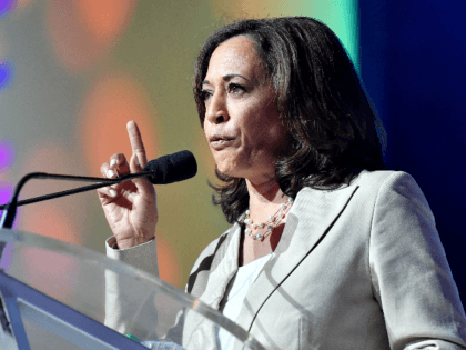 Kamala Harris speaks on stage at 2019 ESSENCE Festival Presented By Coca-Cola at Ernest N. Morial Convention Center on July 06, 2019 in New Orleans, Louisiana. (Photo by Paras Griffin/Getty Images for ESSENCE)